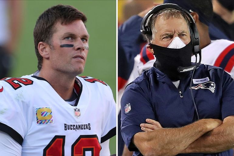 Tampa Bay Buccaneers quarterback Tom Brady, looks up at he scoreboard, and New England Patriots head coach Bill Belichick, coaching a game from the sideline