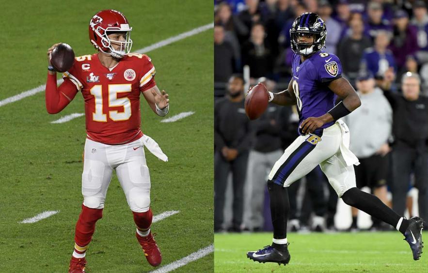 Kansas City Chiefs quarterback Patrick Mahomes, and Baltimore Ravens quarterback Lamar Jackson, looking to throw the ball down field